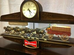 Vintage Budweiser Bar Clock - Champion Clydesdale Team With Pool Table Light