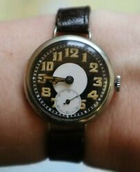 Antique Military Trench Officer Wrist Watch Black White Dial Rare Collectible
