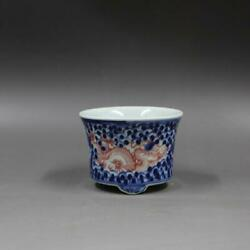 Chinese Blue And White Porcelain Qing Jiaqing Red Dragon Flowerpot Pot 3.6 Inch
