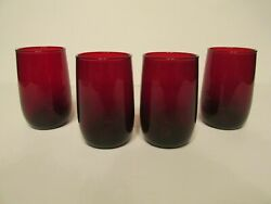 Vintage Ruby Red Juice Glasses - Group Of Four