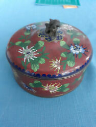 Antique Chinese Cloisonne Candy Box Tea Caddy Trinket Box Humidor With Foo Dog