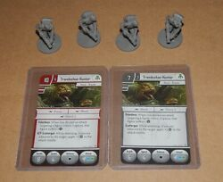 Star Wars Imperial Assault Trandoshan Hunter 4 Unpainted Miniatures With Cards