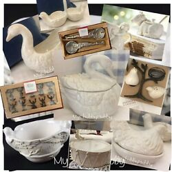Pottery Barn 10pc 12 Days Christmas 9 Ladies Dancing Bowl Butter Cake Plate ++