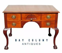 19th C Ball And Claw Chippendale Styled Mahogany Antique Desk With Shell Carvings
