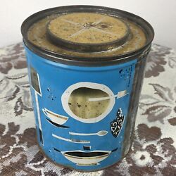 Vintage Proctor And Gamble Fluffo Shortening Tin Canister Mcm Kitchen Graphics
