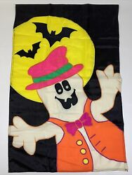 Vtg 90's Halloween Outdoor House Flag Ghost Bat Bright Neon Large Size 27 X 42