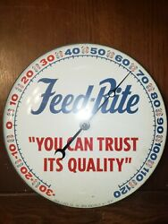 Vintage Feed-rite Advertising Thermometer Pam Clock Co 1961 Round 12