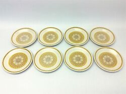 """Set Of 8 Vintage Franciscan Earthenware Sunflower Pattern Yellow 6.625"""" Plates"""