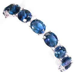 Big 10x12 Blue Sapphire 925 Sterling Silver Necklace Bracelet Earring White Gold