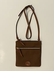 Dooney And Bourke Crossbody Bag Brown Leather Accents Flat Double Zippered EUC $35.99