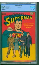 Superman 29 Cbcs 8.5 Vf+ Bright White Pages Patriotic War Cover