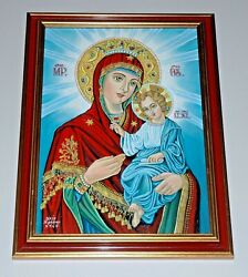 Virgin Mary And Jesus, Icon / Painting – Oil On Canvas. Ic-001