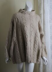 Wow New Eskandar O/s Hand-knit Beige Natural 100 Cashmere Cable Sweater