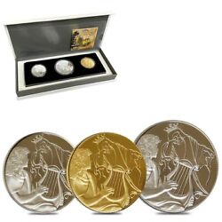 2013 Israel Gold/silver David Playing For Saul 3-coin Set W/box And Coa