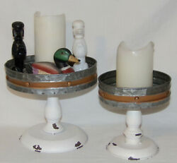 Pedestal Candle Pans Rustic Metal Candle Stands Pans Trays Risers Set R Single