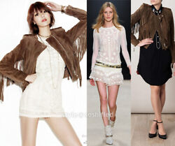 Isabel Marant Brown Esther Fringed Suede And Leather Jacket Size 42