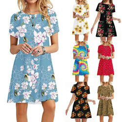 Womens Summer Short Sleeve T Shirt Dress Floral Beach Sundress A Line Mini Dress $15.18