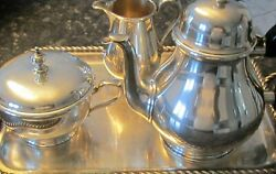 And Co Hallmarked Three Pieces Queen Anne Sterling Silver Tea Set Andtray