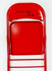 Bob Knight And Phil Bova Signed Red Chair W/ 2.23.85 - Beckett Auth Black