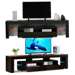 Tv Stand High Gloss Entertainment Unit Console Cabinet W/ Led Lights For 70'' Tv