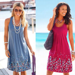Womens Round Neck Sleeveless Printed Loose Dress Floral Casual Beach Sundress $14.32