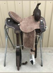 Premium Quality Western Leather Barrel Rough Out Saddle Free Matching Set And Ship
