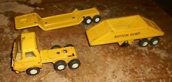 Vintage Tonka Small Yellow Semi Truck With Trailers In Good Shape Used