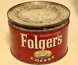 Vintage Folgers Coffee Tin With Lid Copyright 1959