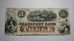 3 18__ Searsport Maine Me Obsolete Currency Bank Note Bill Crisp Uncirculated