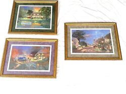 Andrew Warden Village By The Sea River Cottage Blue Bus 3 Pieces Seriolithograph