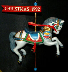 1992 Enesco Ornament Spirited Stallion 3rd And039 Christmas Carousel And039 Series