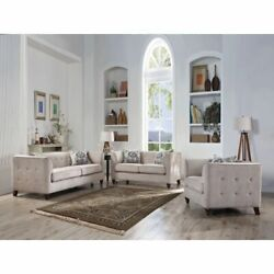 Modern Fabric Living Room Furniture Sofa Set Tan Fabric Tufted Backrest And Arms
