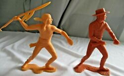 Vintage Marx, 1960's, 6 Inch Plastic Cowboy And Indian, Used, Loose Figures