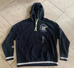 Nwt Nike Mens Athletic Dept Pullover Hoody Black White Green Dc3546-010 Xl