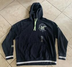Nwt Nike Mens Athletic Dept Pullover Hoody Black White Green Dc3546-010 L
