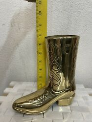 """Vintage Solid Brass Western Cowboy Boot Heavy 8"""" Tall Vase Container"""
