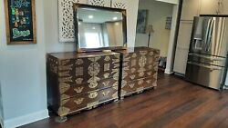 Matching Set Of Antique/vintage Asian Korean Chests/dressers W/matching Mirror
