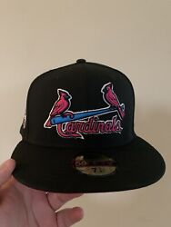 St. Louis Cardinals 2009 All Star Game Black Pink Brim New Era Fitted Hat 7 3/4