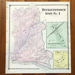 1873 Handcolored Street Map Buckeystown And Adamstown Frederick County Maryland