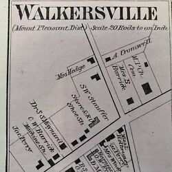 1873 Handcolored Street Map Walkersville And Johnsville Frederick County Maryland