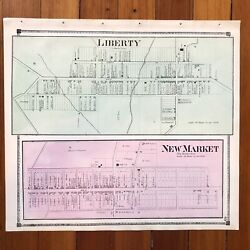 1873 Handcolored Street Map New Market And Libertytown Frederick County Maryland