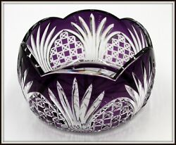 Bohemian Purple Cut To Clear Leaded Crystal Bowl 5.25 High X 8.5 Wide