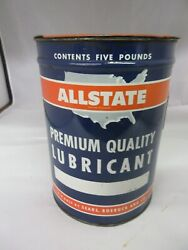 Vintage Advertising 5 Lb Allstate Grease Can Garage Oil Gas S-245