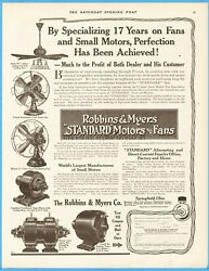 1912 Robbins Myers Springfield Ohio Electric Motors Antique Desk Ceiling Fans Ad