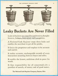 1912 Ncr National Cash Register Co Dayton Ohio Leaky Buckets Are Never Filled Ad