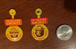 Vintage Smokey The Bear Prevent Forest Fires Tin Pin Badge