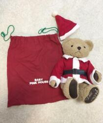 Baby Pink House Christmas Bear 1999 Plush Toy Shipped From Japan