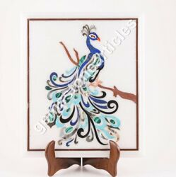Marble Antique Coffee Top Table Lapis Peacock Marquetry Design Home Décor Gifts