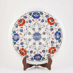 Marble White Table Slab 14x14 Lapis Multi Stone Marquetry Floral Design Arts