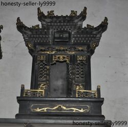 Rare Old Wood Lacquerware Carved Dragon Statue God Buddha House Shrines Fokan